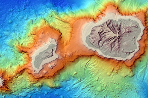 The island and ocean floor topography of Kauai.